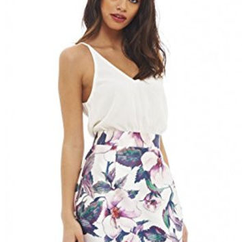 White Sleeveless Top and Floral Skirt 2 in 1 Dress