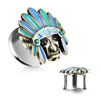 BodyJ4You Plugs Ear Gauges Surgical Steel Double Flare Tunnels Tribal Chief 2G-16mm Jewelry