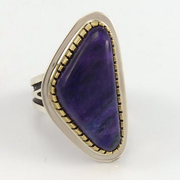 Sugilite Gold on Silver Ring