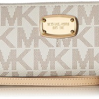 Michael Kors Jet Set Item Travel Continental Wallet Clutch Wristlet (PVC Vanilla