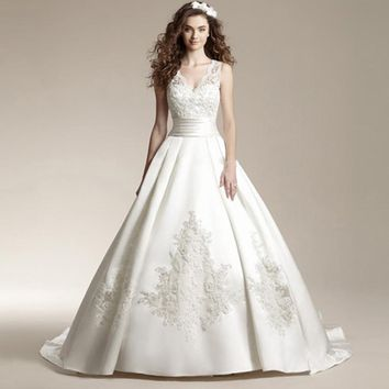 Long Train Satin Embroidery Lace Wedding Dress V-Neck Sweep Brush Train Princess bride Gown