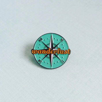 Wanderlust Enamel Pin / Soft Enamel Pin Badge / Lapel Pin / Tie Pin / Brooch / Pinback
