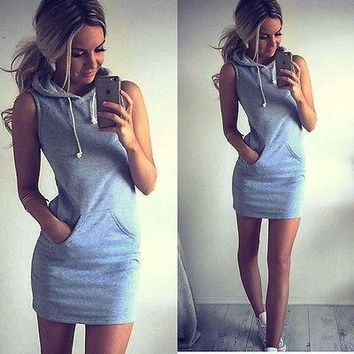 Sleeveless Hoody Sweatshirt Dress