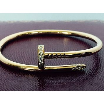 Gotopfashion Cartier Juste Un Clou , Nail Bracelet With Diamonds, 18k Yellow Gold , Size 17