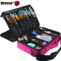 Hotrose Women Professional Makeup Organizer Kit Pink Cosmetic Case Large Capacity Storage Bag Free Disassembly Makeup Suitcases