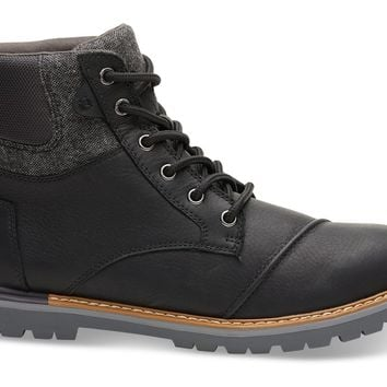 TOMS - Men's Ashland Waterproof Black Leather Brushed Wool Boots
