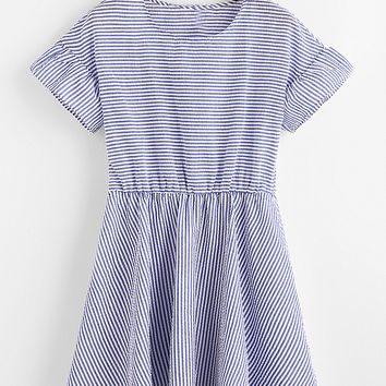 Blue Striped Short Sleeve Round Neck A-Line Dress