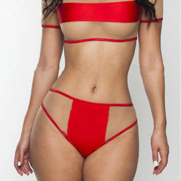 Red Mesh Accent Swimsuit
