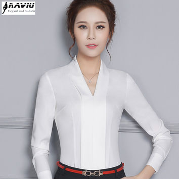 New temperament V-Neck long sleeve white shirt women OL Eleangt formal slim chiffon blouse office ladies plus size work wear top