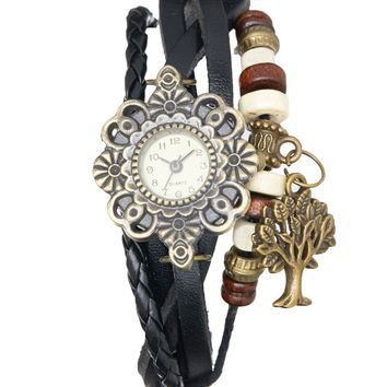 Black Tree Braided Leather-Strap Watch
