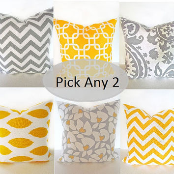 PILLOWS SET of 2 PICK Two - 18x18 Decorative Throw Pillows Grey Yellow 18 x 18  Chevron Throw Pillow Covers Fabric front & back