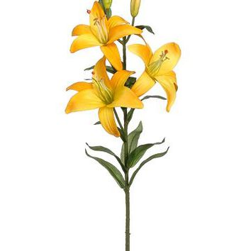"Silk Flower Lily Spray in Yellow - 28"" Tall"