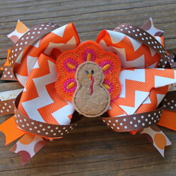 Thanksgiving Hair bow, Thanksgiving Headband, Baby Headband, Turkey Bow, Over the top bow, Thanksgiving boutique bow, gobble till wobble bow
