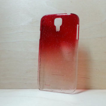 Samsung Galaxy S4 3D Water Droplets Hard Plastic Case - Red