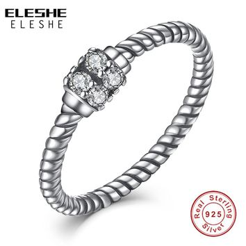 Authentic Twist Rope Silver Ring Original 925 Sterling Silver Clear CZ&Crystal Oriental Finger Rings for Women Fashion Jewelry
