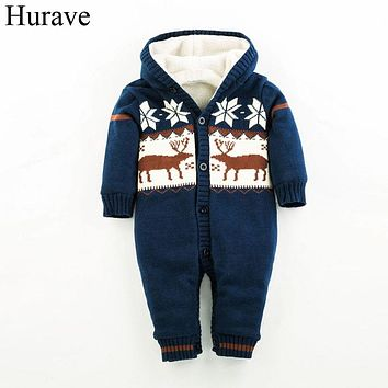 Infant Clothing boy and girl clothes Winter Baby Romper Cotton Plus Velvet Christmas Moose Knitted sweater kids clothes