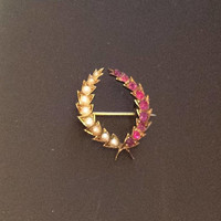 Victorian Ruby Pearl Brooch, Wreath, 15K Gold