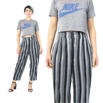 80s Vertical Striped Pants High Waisted Trousers Pinstripe Pants Comfy Cropped Trousers Black Grey Trousers Pockets Winter Minimal (S)