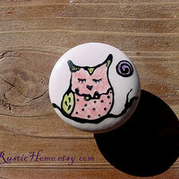 Owl knobs pulls dresser cabinet kitchen bedroom colorful