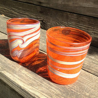 Hand Blown Drinking Glass Tumblers set of 2 by HorkoverGlass