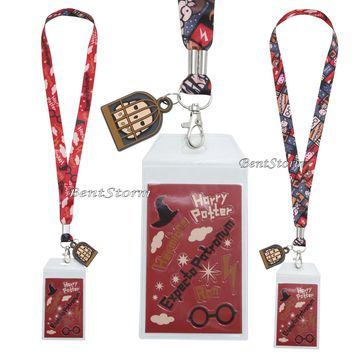 Licensed cool Harry Potter Chibi Art ID Card Holder Neckstrap Lanyard W/ Hedwig Owl Cage Charm