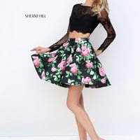 Sherri Hill 50461 Black Pink Lace Long Sleeve 2 Piece Dress