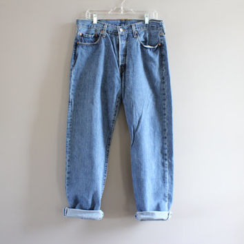 Levis 501 34 Waist Vintage Levi's Jeans High Waist Button Fly Straight Leg Washed Denim Mom Jeans Boyfriend Jeans Hipster 34X32 #P006A