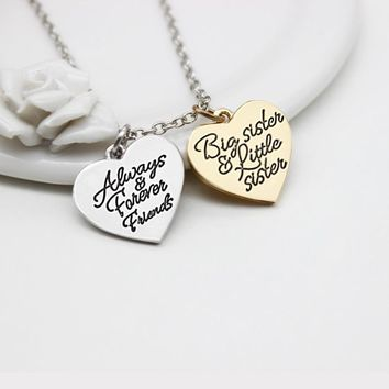 Big Sis Lil Sis Always Forever Friends Necklace Big Sister Little Sisters BFF love Heart Pendant Necklaces Friendship Jewelry
