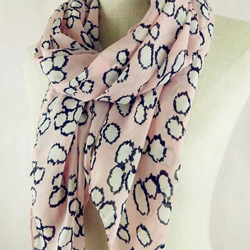 Pink Leopard Cloud Print Scarf, Circle Pattern Summer  Light Weight 1520 Scarf