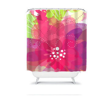 Watercolor Shower Curtain Monogram Hot Pink Purple Dahlia Flower Floral Bathroom Bath Polyester Made in the USA