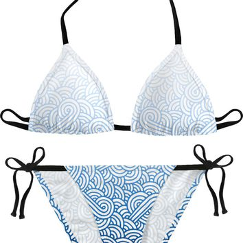 Gradient blue and white swirls doodles Bikini