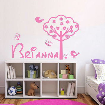 Name Wall Decals Tree Decal Bird Vinyl Nursery Girl Room Decor Sticker DA3750