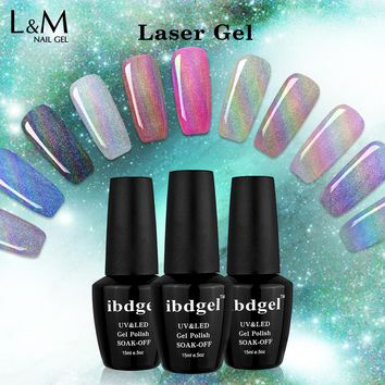 3 Bottle Laser Gel Professional UV Gelpolish Glitter holographic UV Nail Polish Nail Art Manicure UV Nail Gel Polish Soak Off