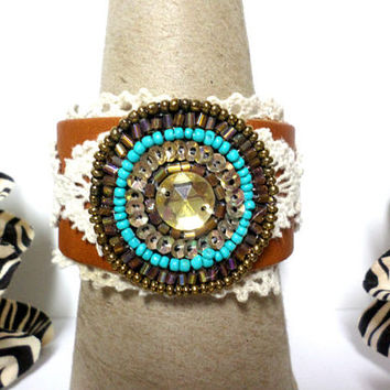 Boho wide brown leather turquoise & gold seed bead bead lace tribal aztec design cuff bracelet, gift