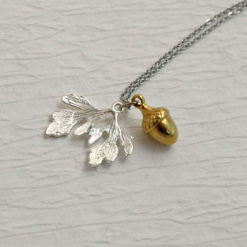 Acorn oak leaf necklace, silver gold charm pendant simple woodland minimal nature leaves fall Birthday gift