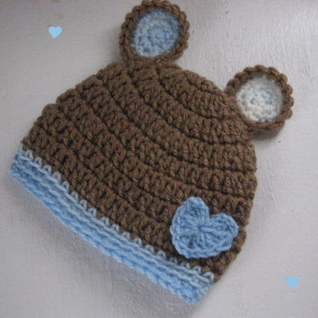 Crochet baby boy hat,  0 to 3 months, boy hat, Crochet hat Boy,  photo prop, hat baby boy, Baby Bear Beanie, Baby boy gift