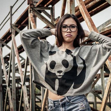 Cute Pullover Oversize style Black Screen Printed Panda Bear Wild Animal Print Bat Style Half Body In Grey