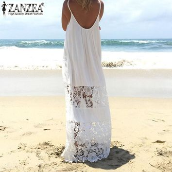 Women's Summer Lace Patchwork Maxi Dress With Spaghetti Straps.    Great Beach Dress or Cover-Up.   Available in White, Black and Claret.    Sizes Small to 5XL.   ***FREE SHIPPING***