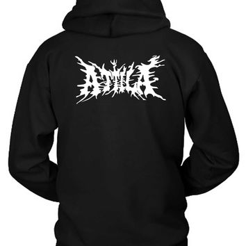 Attila Logo Black And White Hoodie Two Sided