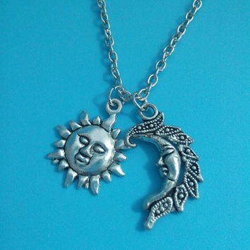 Sun Moon Pendant Necklaces Antique Silver Charm Long Chain Wicca Pagan Jewelry 10 pcs