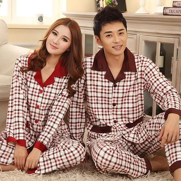 Lovers sleepwear 2016 autumn winter long-sleeve Casual lovers home clothing couples matching pajamas adult plaid pajamas sets