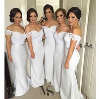 Sexy Off the Shoulder Long Lace Bridemaids Dresses Formal Gowns Wedding Party Dresses for Bridesmaid Sleeveless Cheap FF74