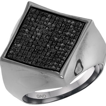 10kt White Gold Mens Round Black Colored Diamond Square Cluster Ring 1/2 Cttw 61971