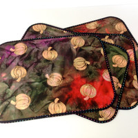 Quilted Reversible Placemats Modern Batik Autumn Set of 4