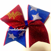Wonder Woman Glitter Cheer Bow/Cheerbow