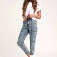 Mom Jeans Acid Wash High-Waisted Cropped Jeans