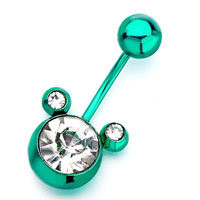 Green Mickey Mouse Head With April Birthstone Clear Crystal Round Belly Button Ring, Belly Rings, New Year Belly Rings   Pugster.com