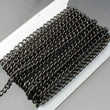 10 feet Gunmetal Curb Chain / BIG Chunky Sturdy Curb Chain - 3.6mm width 1.0mm Wire Unsoldered Link - Bulk Chain Necklace Wholesale Chain