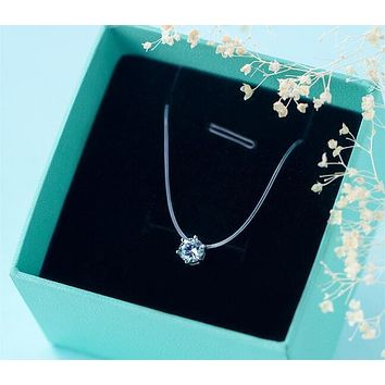 """Real. 925-Sterling-Silver transparent invisible fishing line Solitaire Prong Round CZ Pendant choker Necklace 6.5mm 14""""-15"""" X666"""
