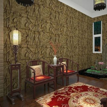 Vintage Engraving Imitation Egyptian 3D Wallpaper Brown Design Artistic Pattern